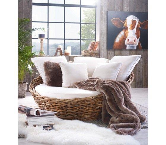 Exklusives Loungesofa aus echtem Rattan - Urlaubsfeeling für zu Hause