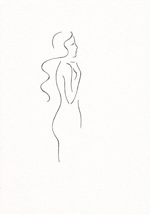 Originele inkt schets. Zwart-wit vrouw tekenen. Minimalistische lijntekeningen.