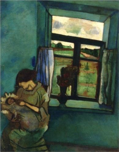 """Bella and Ida by the window"", 1916. Marc Chagall"