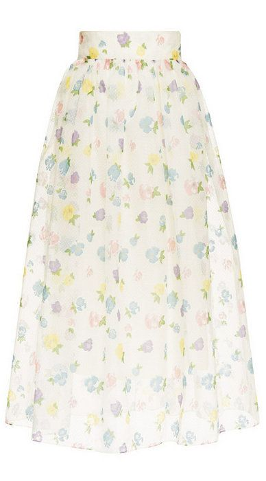 Vilshenko Holly Floral Print Full Skirt