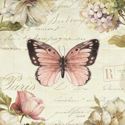 mariposa y flores sobre letras vintage