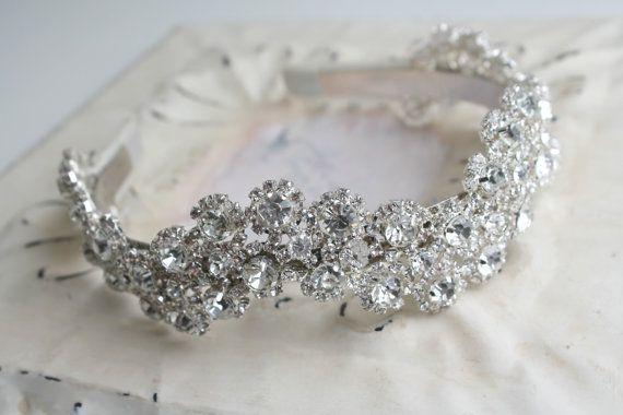 Bridal Crystal Headpiece Sparkly Bridal Headband Crown - Wedding Headdress - Ivory Ribbon Rhinestones - Vintage Glamour Wedding