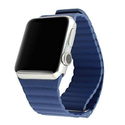 Lmeno 42mm Apple Watch Uhrenarmband Uhrband Armband Echt Leder Loop mit Magnet-Verschluss Replacement Watch Strap Wrist Band zubehör mit Adapter für Apple iWatch & Watch Edition--Blau - http://uhr.haus/lmeno/42mm-lmeno-38mm-metall-edelstahl-uhrenarmband-e-f