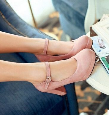 Women new fashion spring summer 9cm high thick heels waterproof round toe buckle solid color shoes large plus size 40-43