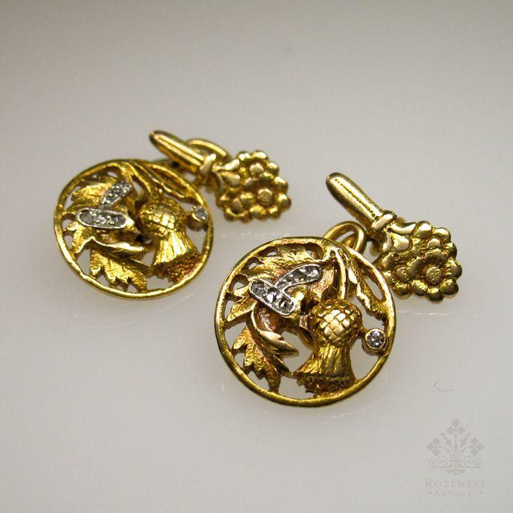 Antique Art Nouveau 18k Gold Diamond Cufflinks – Rozental Antiques