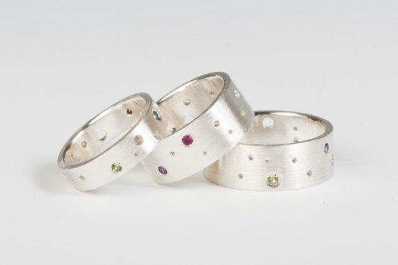 Edelsteen maan Band Ring in sterling zilver aangepaste