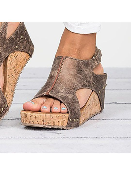 ad39c9d3b6d Mid Heeled Chamois Ankle Strap Peep Toe Basic Casual Wedge Sandals -  berrylook.com
