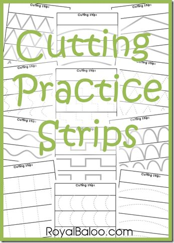 Free Cutting Practice Strips Download - from Royal Baloo. For more early intervention pins, follow @Connecting for Kids