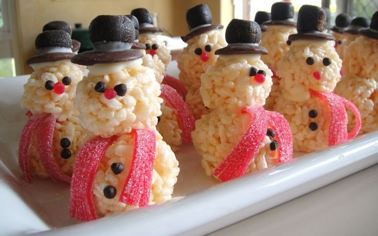 Rice Krispie Treat Snowmen: Christmas Food, Holiday, Idea, Ricekrispie, Rice Crispy, Rice Krispies, Snowman