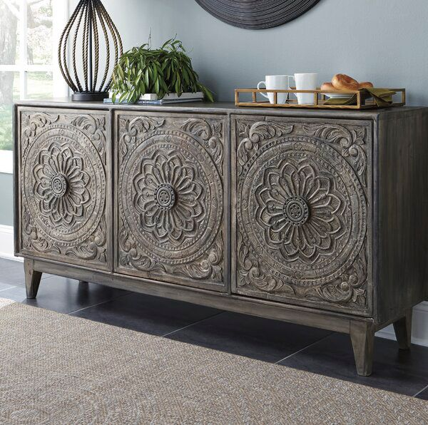Wethersfield Sideboard Accent Cabinet Carved Doors Ashley Furniture