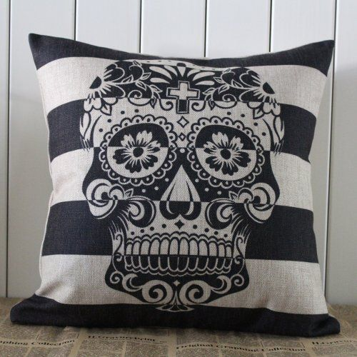45x45cm Skull Stripe Halloween All Hallows' Eve Gift Present Linen Cushion Covers Pillow Cases Trick-or-treating Decho http://www.amazon.com/dp/B00ER57VDS/ref=cm_sw_r_pi_dp_Yiwmub09C1JSE
