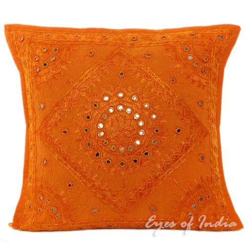 "16"" Orange Embroidered Cotton Cushion Pillow Throw Cover India Ethnic Decor   eBay"