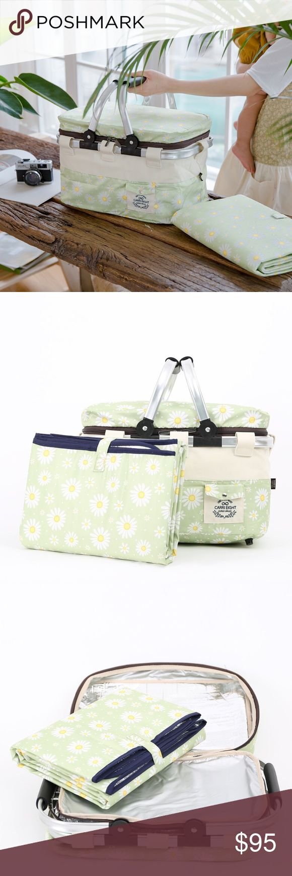 "CarriEightUSA Picnic Bag (L&Mat) Flower Lime CarriEightUSA's Insulated Picnic Bag(L&Mat) keeps your food and beverage cool and warm at all times! It's perfect to carry it to the picnics, farmers market, and other family gatherings!! ••It can easily be folded • Comes with a mat • Size: 15.7""W x 10.6""D x 10.2""H • Mat: 55.1""W x 39.4""H • 100% Polyester •• 🚫No trade•• CarriEightUSA Bags Totes"