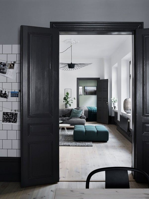 A Modern Industrial Interior with Greenish Blues
