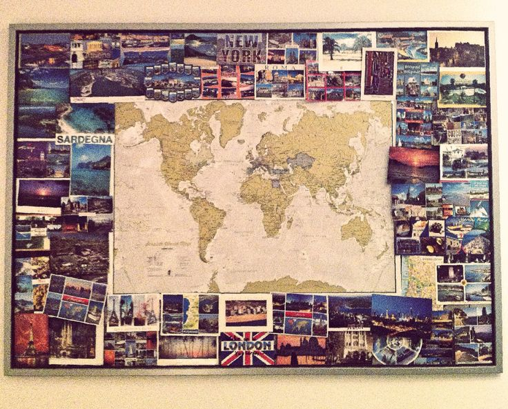 Frame+scratch map+postcards from friends and own journeys