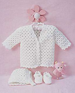 Lacey Set to Crochet (Cardigan, Booties & Bonnet) - (Pattern Downloaded - SLT)