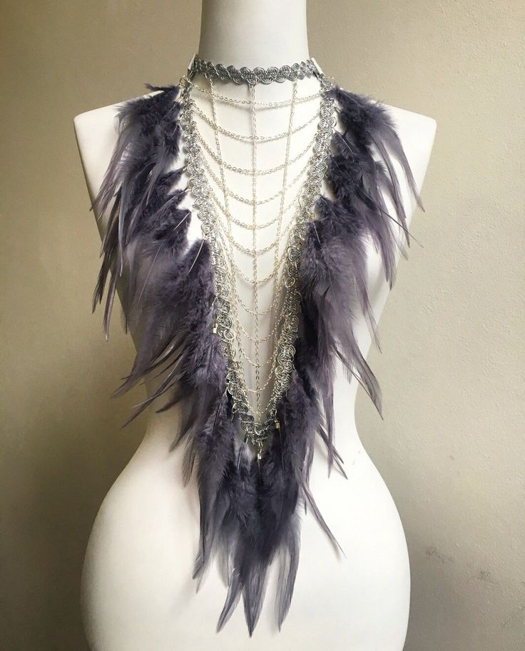 Breastplate bib statement necklace with lace chains & soft feathers, boho bride, festival choker, burning man, feather shoulder piece