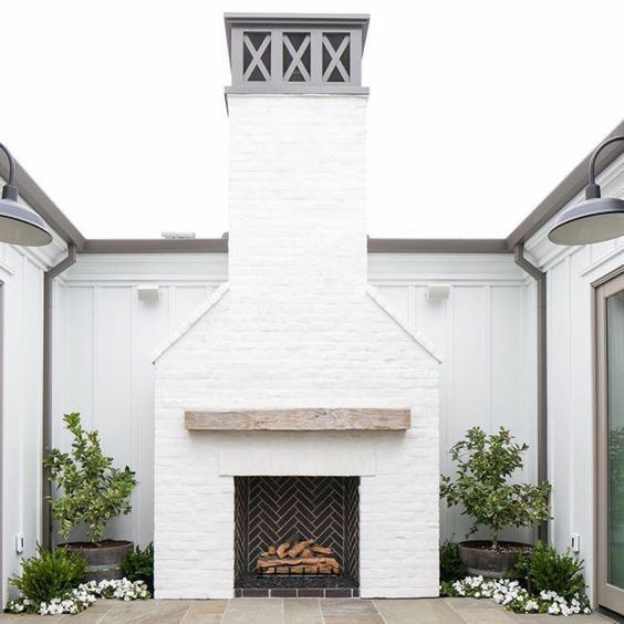 White brick style. How to use this architectural detail in a modern or traditional home.. Fireplace, exterior, ceiling, walls and more.