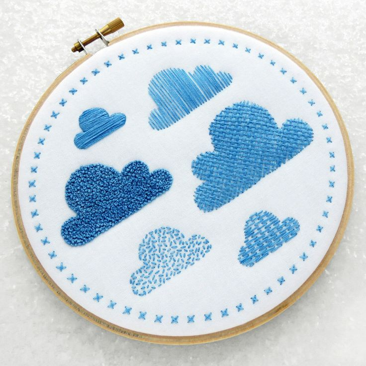 The 'Clouds Sampler' is a lovely kit to have a go at 9 different embroidery stitches, both outlining and filler stitches. It would also look fab hanging on a nursery wall ⛅