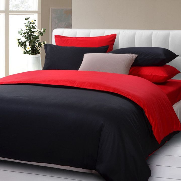 hot sale fashion solid color 5pcs bedding set queenking size black and red comforter
