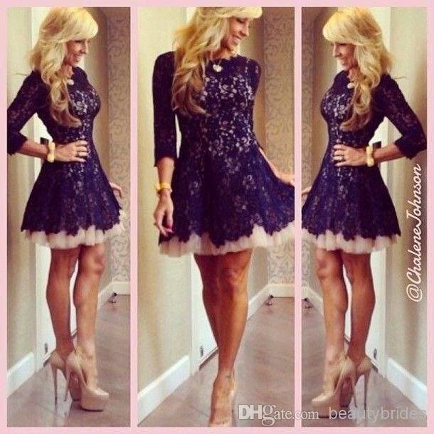 New 2014 Lace Homecoming Dresses Ball Gown Bateau Neck Zip Back Mini Length Short Prom Gowns Lace Dresses With 3/4 Long Sleeves
