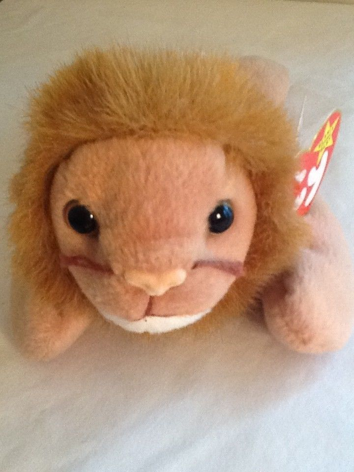 1966 Ty Beanie Baby ROARY Lion Plush Stuffed Animal Golden PVC Pellets w/Tags #Ty