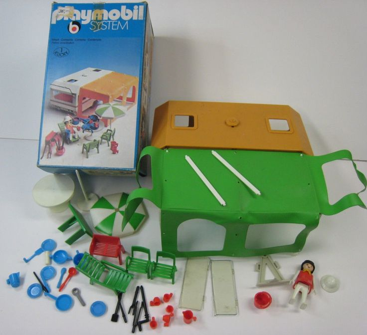 Playmobil 3249 OLD/Rare 1977-83 Trailer Camping/Camper RV w/Tent Awning w/Box