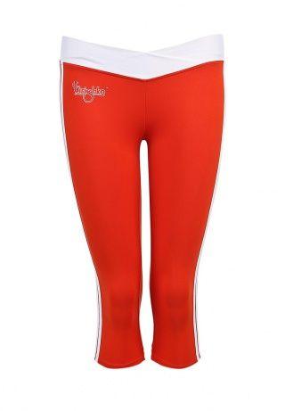 Яркие спортивные капри от Grishko выполнены в красном цвете с белыми акцентами на поясе и по бокам. Модель облегающего силуэта создана из эластичного трикотажа. Детали: трикотажный пояс, справа под поясом принт в виде логотипа бренда. http://j.mp/1pNfgv5