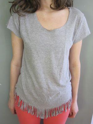 DIY Fringe Shirt. Tutorial at http://prudenceandaustere.blogspot.com