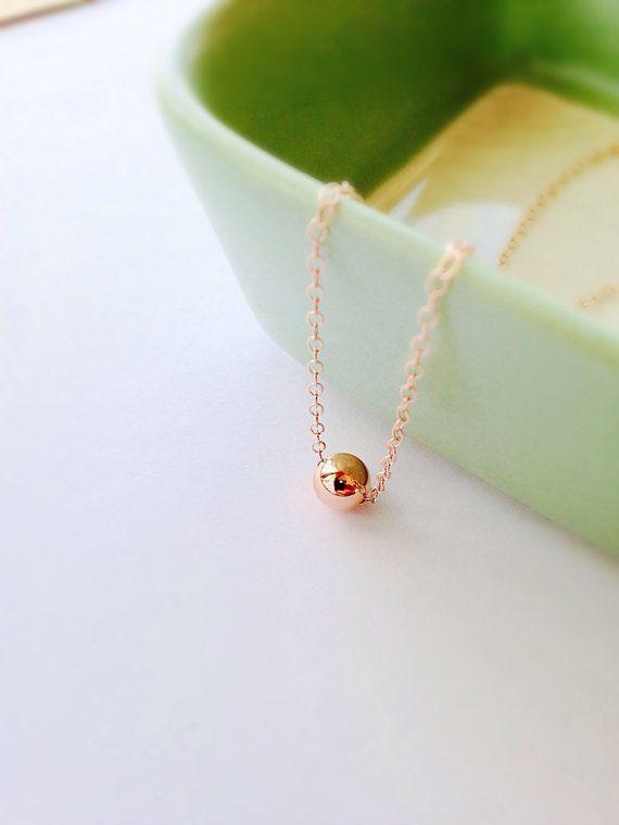 Tiny rose gold ball charm necklace / dainty gold by KelmByDesign