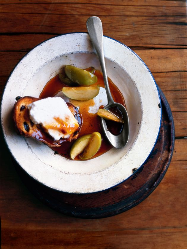 fruit toast with caramel apples