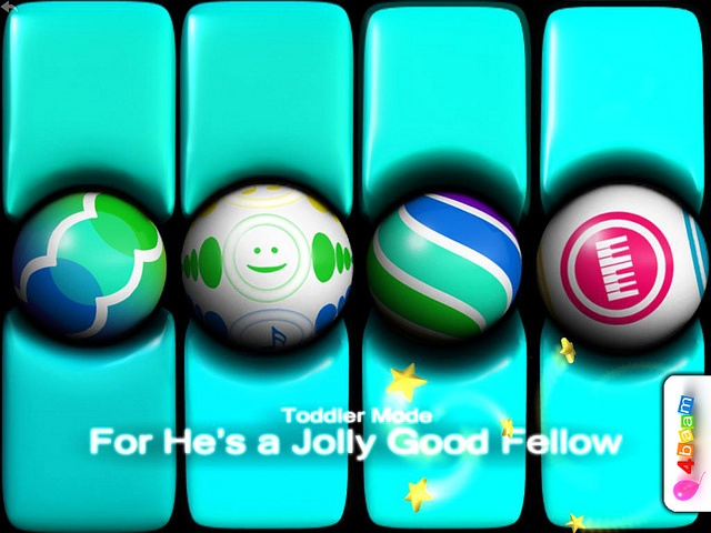 PianoBall - For He's a Jolly Good Fellow - cyan baby keyboard - toddler mode