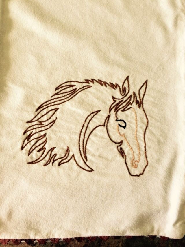 Horse made with a continuous line.  Burp cloth.