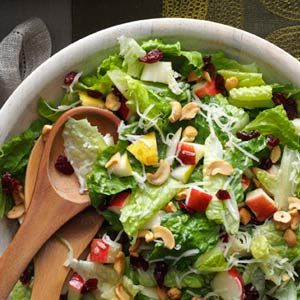 Holiday Lettuce Salad Recipe -My family always requests that I make this salad for get-togethers. It's light and very good; everyone goes back for seconds. —Bryan Braack, Eldridge, Iowa