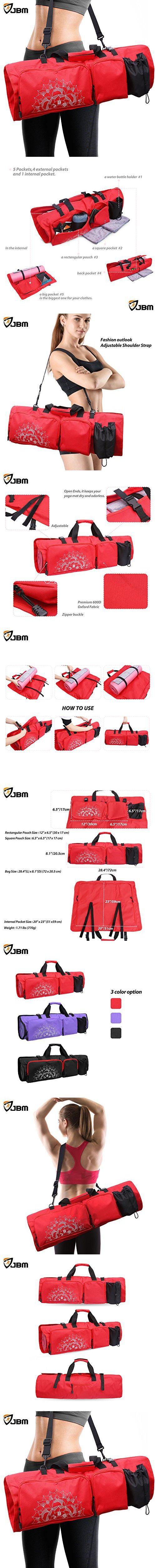 """JBM Yoga Bag Yoga Mat Bag with Open Ends (3 Color) Yoga Mat Carrier 5 Pockets for Yoga Mat Yoga Block Yoga Gear Yoga Accessories (Pink, 28.4""""(L) x 8.1""""(D))"""