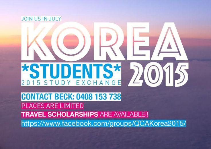 Want to join us in Korea for minimal cost this July to undertake a study exchange and obtain course credit for an elective?! This opportunity is open to ALL students studying at QCA! Travel scholarships apply for eligible students. Places are limited, so please express your interest by 1 May 2015 by contacting Beck on 0408 153 738 or via email: beck.davis@griffith.edu.au  Join this Facebook group for more details: https://www.facebook.com/groups/QCAKorea2015/