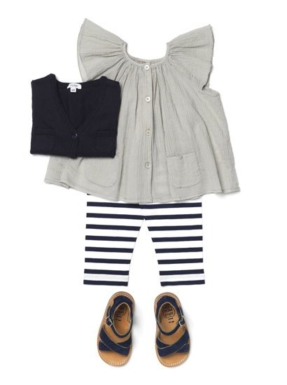 Cute and nautical, just missing a little color. Perhaps a cool hat?