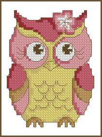 Pink Owl Free Cross Stitch Pattern Chart