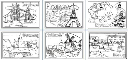 Geography Resources - Teaching about Europe.  Worksheets, colouring pages and posters for a Europe Topic