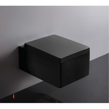 WC Suspendu Rectangulaire, 52x39 cm, Noir, avec Abattant, Kube