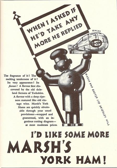 Marsh & Baxter's of Brierley Hill - York ham advert - by Ashley Havinden, 1927
