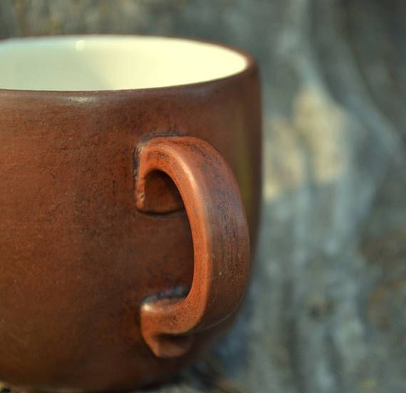 Coffee cup  Ceramic cup  Brown cup  Handmade drinkware