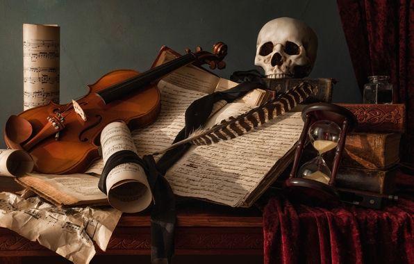 Обои натюрморт, череп, ноты, книги, перо картинки на рабочий стол, раздел стиль - скачать