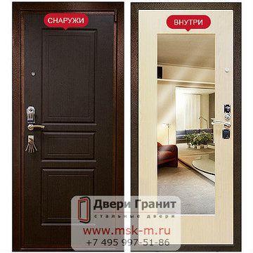 Металлические двери с зеркалом внутри (входные)