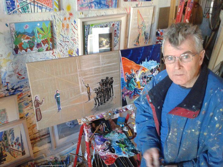 Mick Cullen Irish Artist working on 1916/2016 work