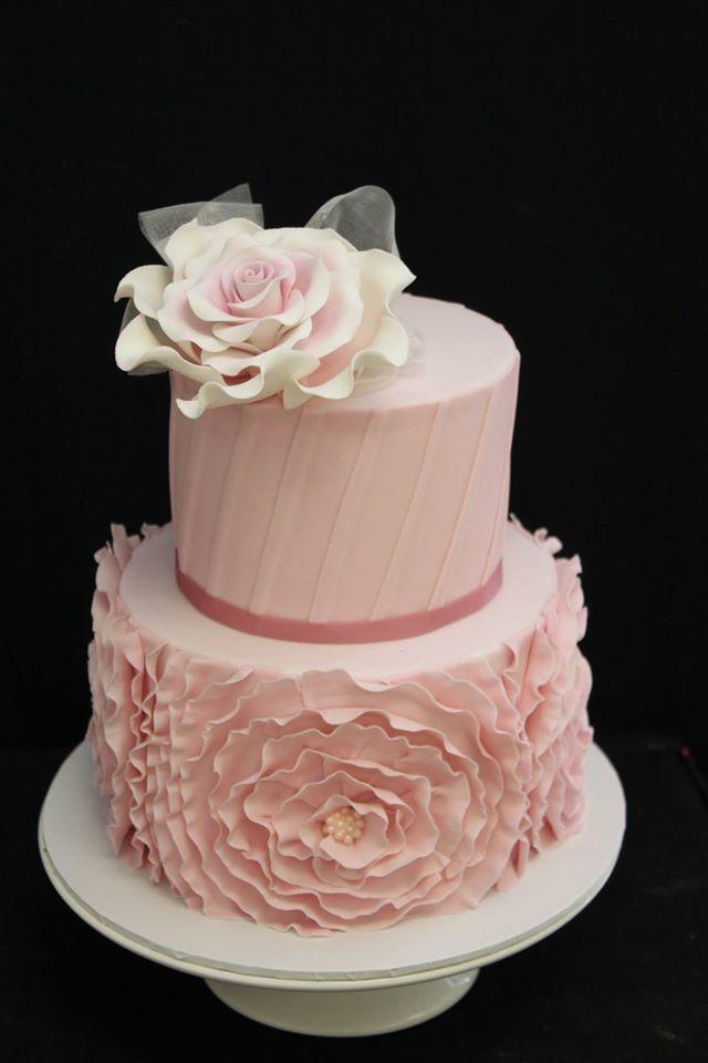 Pink ruffles and pleats cake