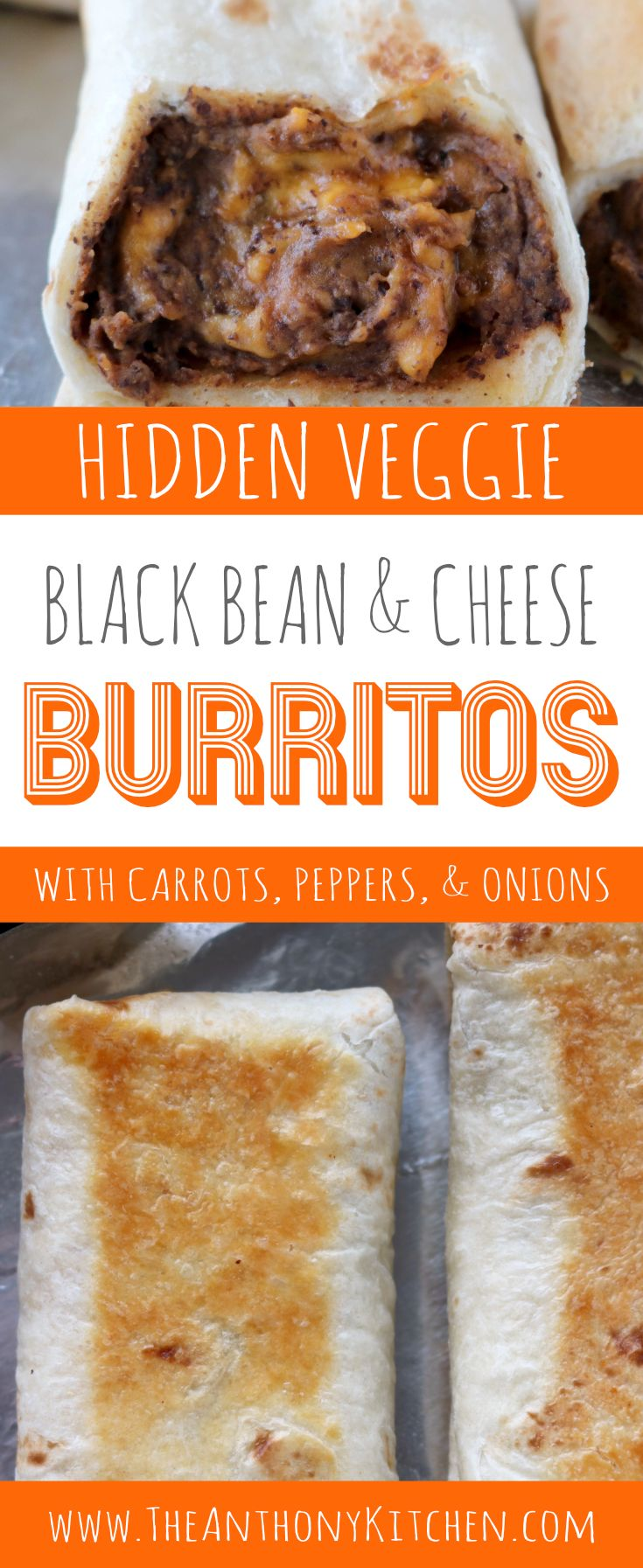 Kid Friendly Recipe | Baked Burrito | Black Bean and Cheese Burrito | A kid-friendly, baked burrito recipe featuring black beans, cheddar cheese, and hidden vegetables! Perfect for freezer-friendly dinners and make-ahead lunches! | #makeaheadmeals #kidfriendlydinner #lunchboxideas #blackbeanrecipes #burritos