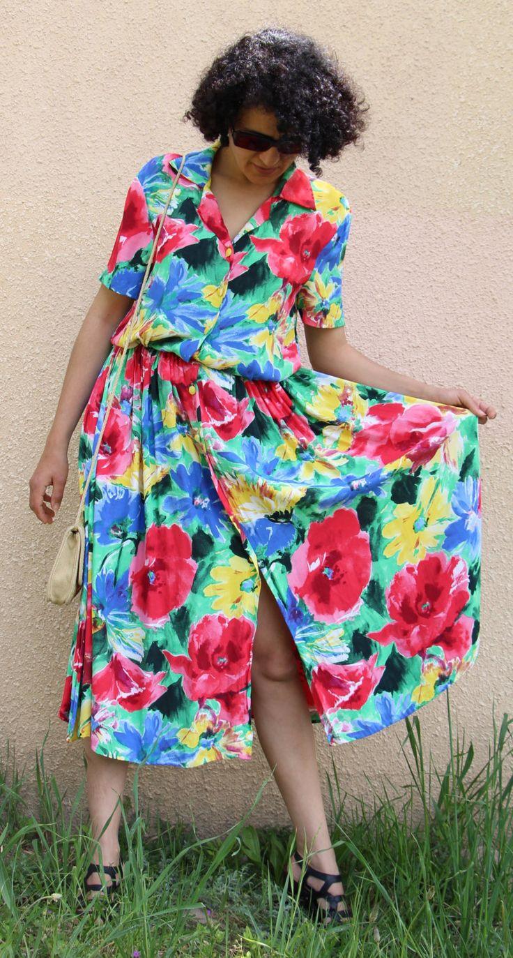 Robe boutonnée années 80 vintage de la boutique AuxBellesFrusques sur Etsy