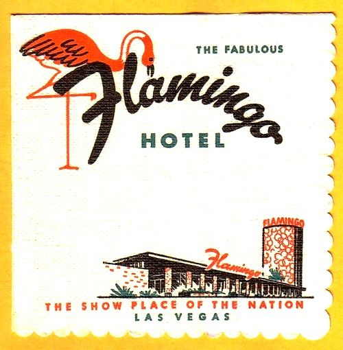 "Vintage Las Vegas ~ Flamingo hotel cocktail napkin ""The Show Place of the Nation"""