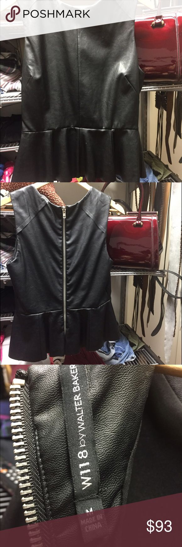 Beautiful leather peplum top Only worn once!!!! So cute and so comfy! It really is great quality W118 by Walter Baker Tops Blouses
